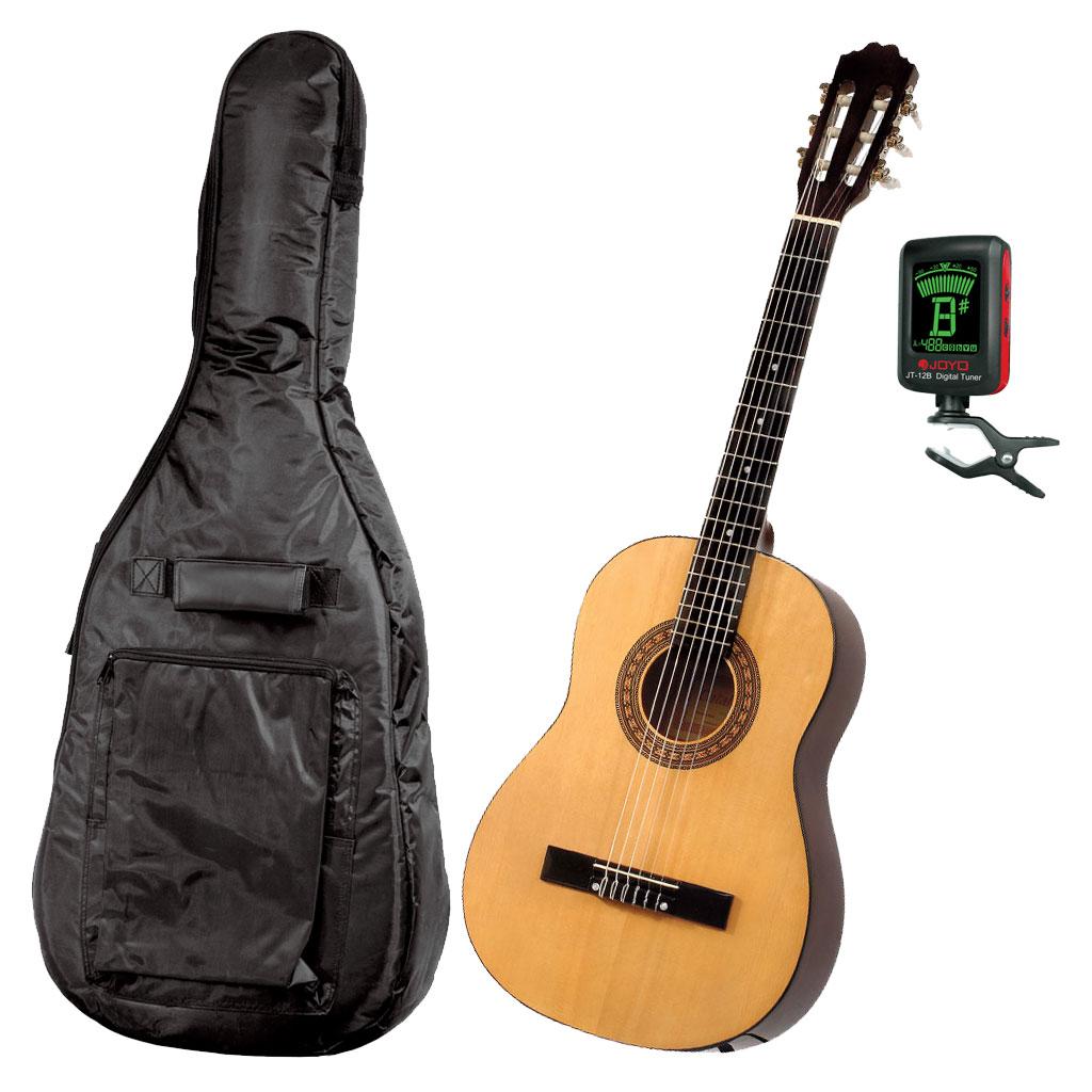 Gitarrpaket för nybörjare Junior - Natur. Gitarr, fodral och stämmapparat.