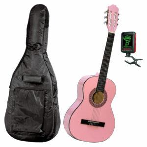 Gitarrpaket för nybörjare Junior - Rosa. Gitarr, fodral och stämmapparat.