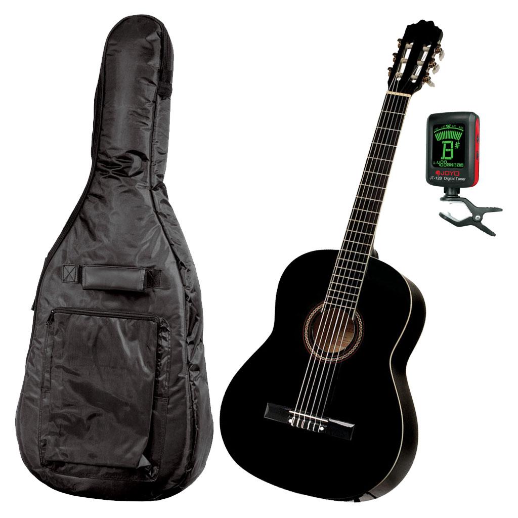 Gitarrpaket för nybörjare Junior - Svart. Gitarr, fodral och stämmapparat.