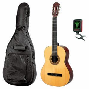 Gitarrpaket för nybörjare. Gitarr, fodral och stämmapparat.